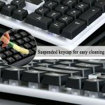 Suspended keycap for easy cleaning
